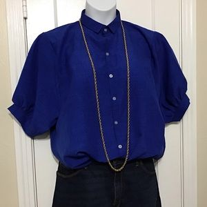 😎 Shein Royal Blue Button Down Short Sleeve